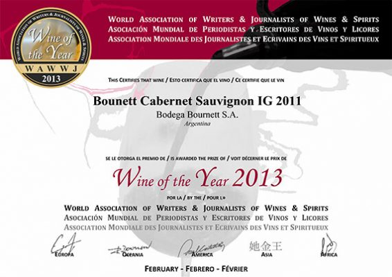 WINE OF THE YEAR 2013 - CABERNET SAUVIGNON I.G.